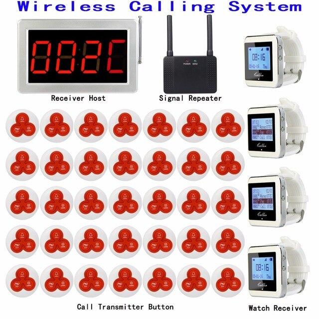 무선 식당 호출 호출 시스템 1 수신기 호스트 + 4 시계 수신기 + 1 신호 중계기 + 35 송신기 벨 버튼 F3290D