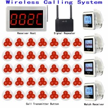 Sistema de búsqueda de llamadas de restaurante inalámbrico 1 receptor Host + 4 receptor de reloj + 1 repetidor de señal + 35 botones de campana del transmisor F3290D