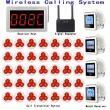 Wireless Restaurant Aufruf Paging System 1 Empfänger Host + 4 Uhr Empfänger + 1 Signal Repeater + 35 Sender Glocke taste F3290D