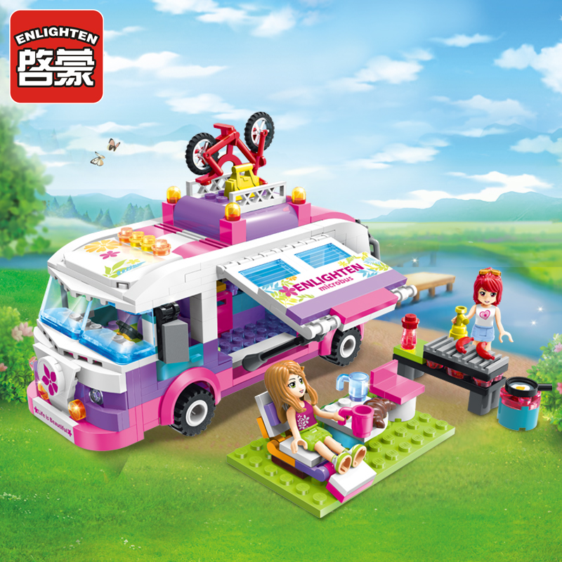 ENLIGHTEN Building Blocks Girls Educational Building Blocks Toys For Children Kids Gift City Friends Beauty Outing Bus Blocks 0367 sluban 678pcs city series international airport model building blocks enlighten figure toys for children compatible legoe