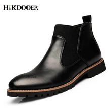 New Arrival Men Chelsea Boots British Style Fashion Ankle Boots,Black/Brown/Red Brogues Soft Leather Casual Shoes
