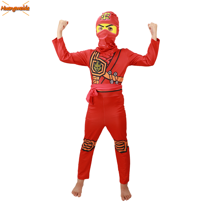 Ninjago Party Costume Kids Red Clothes Sets Children Halloween Costume For Kids Fancy Party Dress Cosplay Superhero Ninja Suits