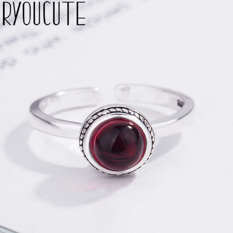 Bohemian New 925 Sterling Silver Big Crystal Rings for Women Gift Adjustable Size Antique Ring Wedding Jewelry Wholesale