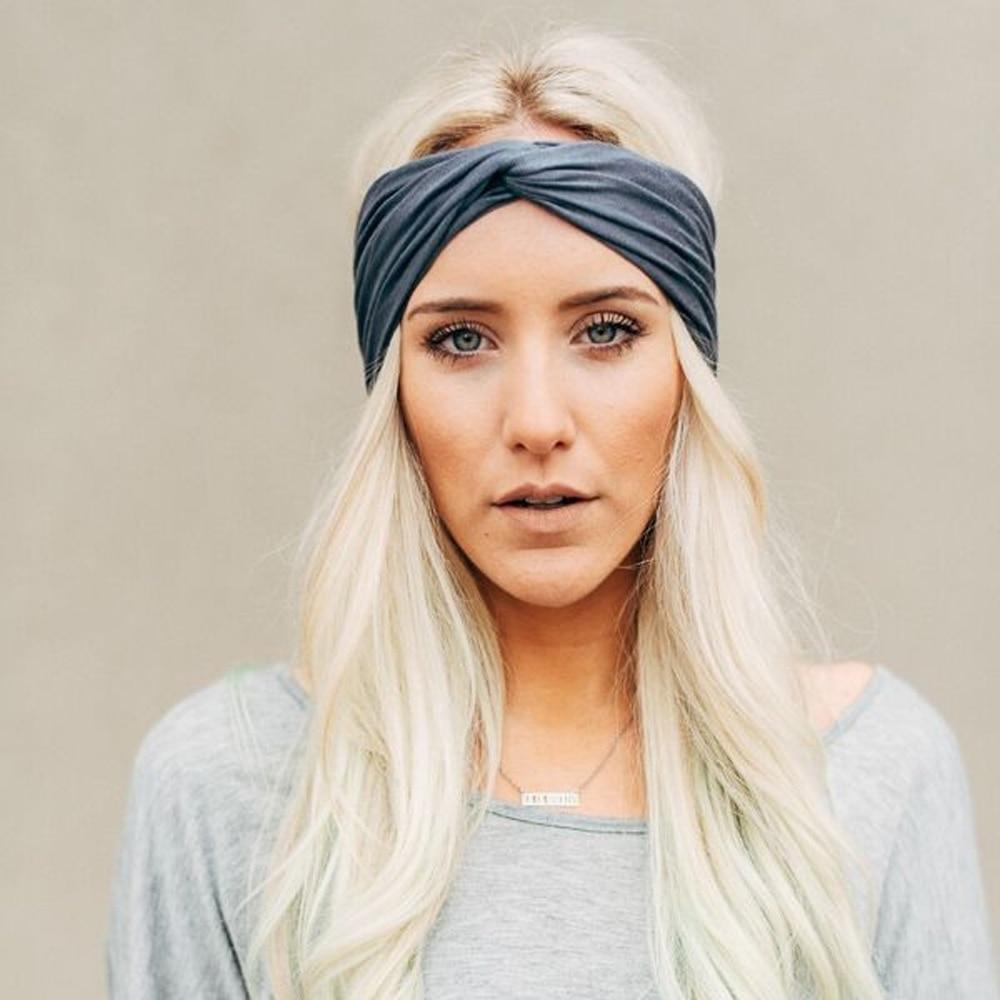 1PC Fashion Women Lady Knotted Twist Hairband Cotton Yoga Elastic Headband Hair Band Accessories Headwear