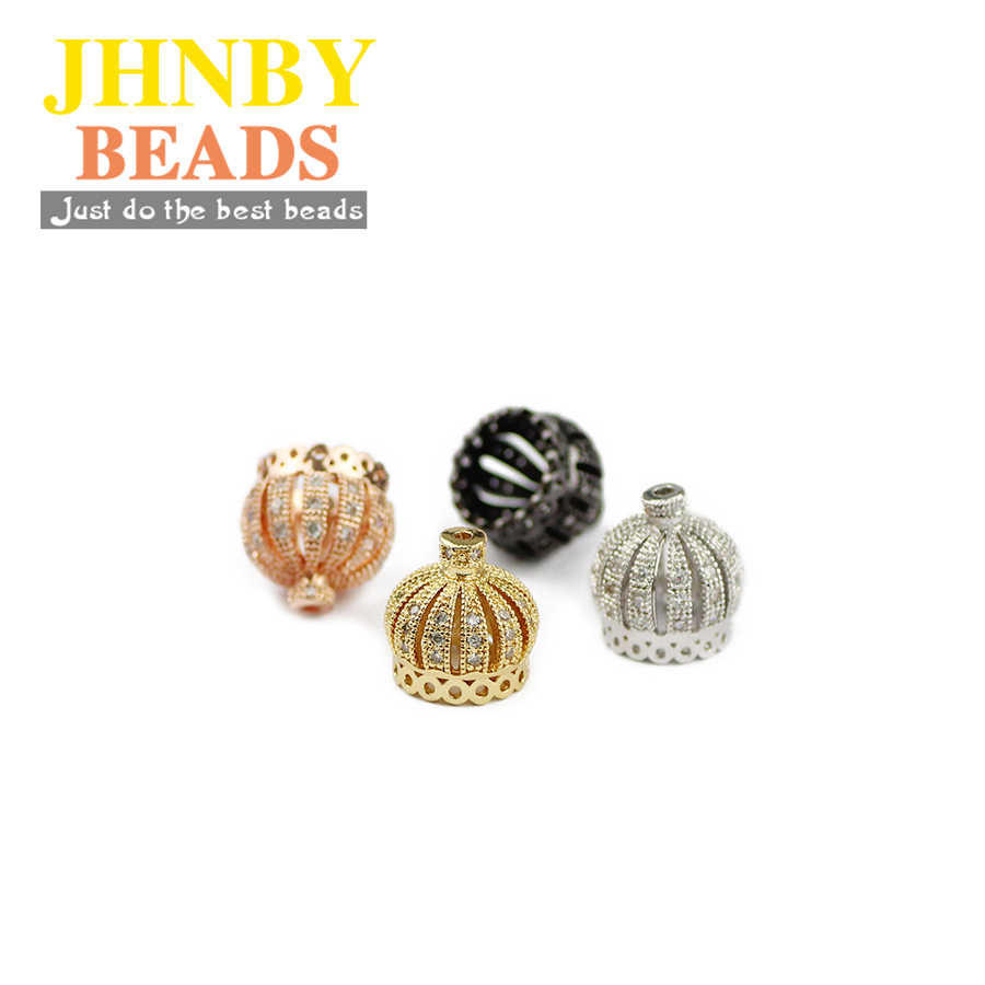 JHNBY 4 pièces couronne bouchon pendentif cuivre laiton entretoise perles en vrac Micro pavé CZ Zircon bijoux à breloques bracelet faisant des résultats de bricolage