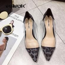 hot deal buy wellwalk close toe heels pumps women heel shoes leopard pumps ladies clear heel pumps female dress shoes fashion clear pvc