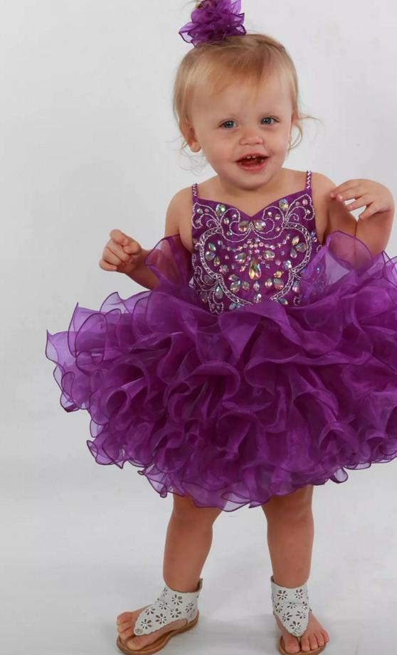 Purple Girls Pageant Dresses 2017 with Spaghetti Straps and Tiered Shining Organza Cupcake Little Rosie Pageant Dress Cust custom make little girls party dresses one shoulder lace hand made flowers tiered organza tiered ball gown little girls dress