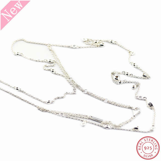 77f43e4986903 US $23.85 23% OFF 925 Sterling Silver Chandelier Droplets 45cm Adjustable  Long Necklaces for Women Jewelry Combine Two Chains With Clear CZ FLN060-in  ...