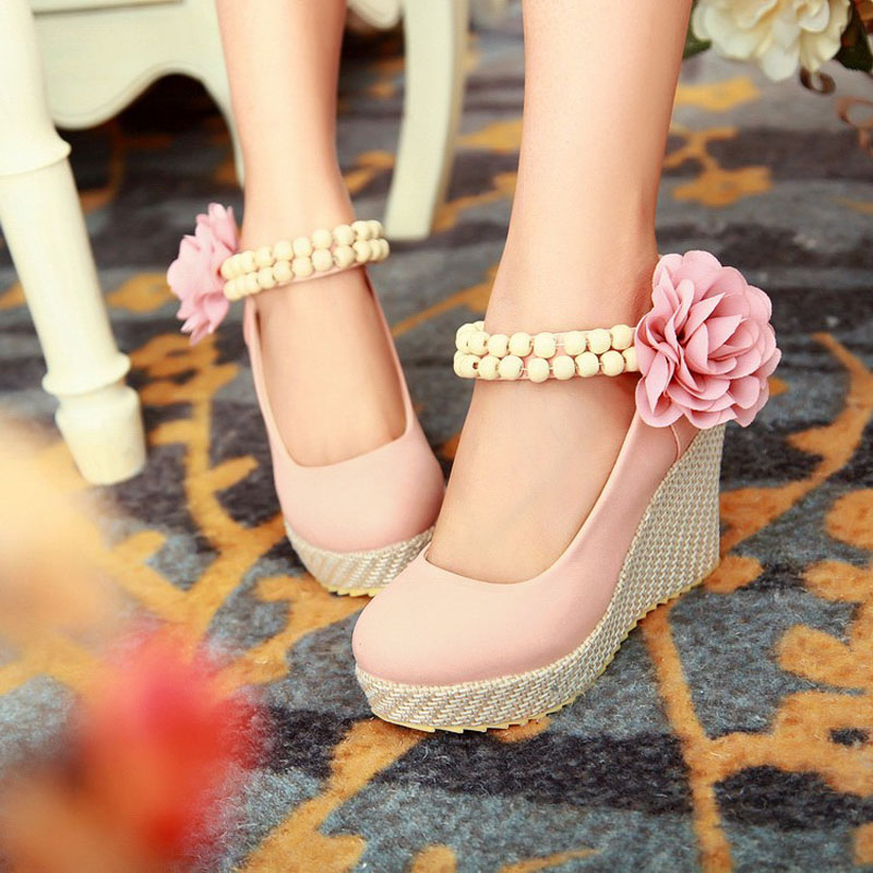 Aliexpress Buy New Fashion Flower Ankle Strap Platform Wedges Elegant Ladies High Heels Wedge Wedding Shoes For Women Woman From