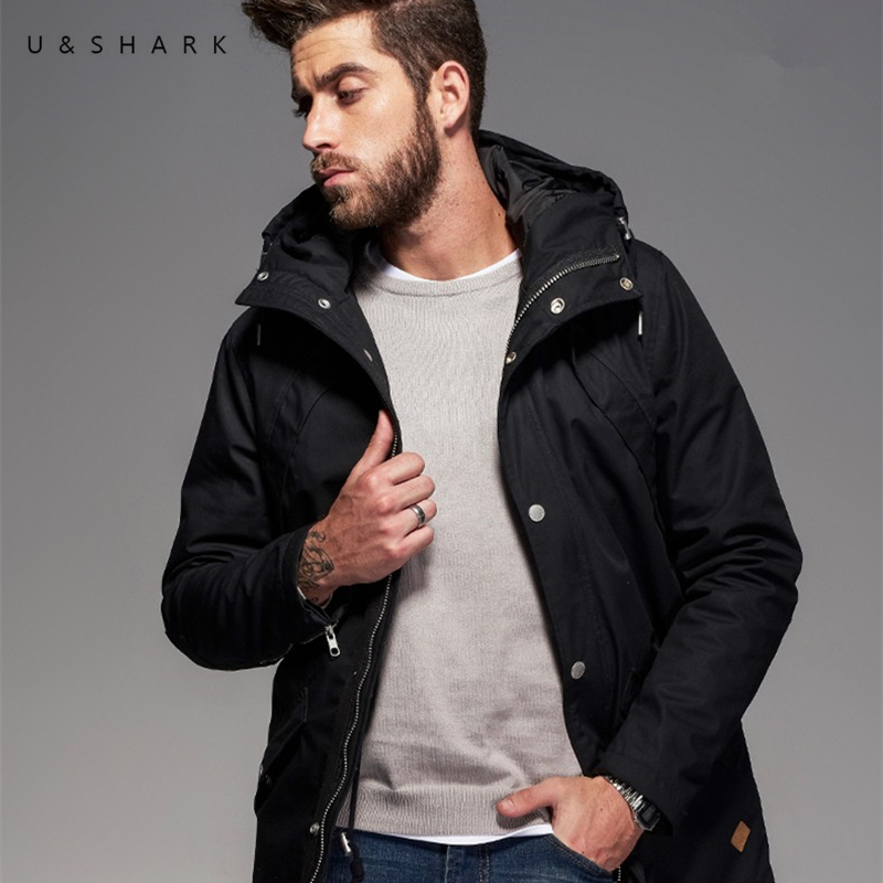 U&SHARK Autumn Winter Black Hooded Long Parkas Men Trench Coat High Quality Waterproof Zipper Clothes Man Casual Jackets Male
