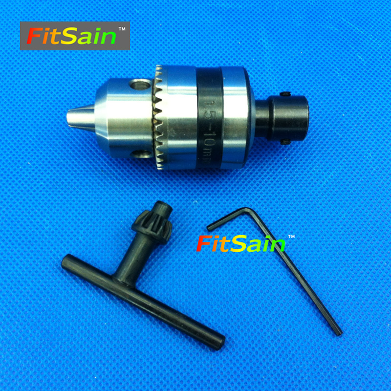 FitSain-5mm-B10 mini drill chuck 0.6-6mm B10 for motor shaft 5mm electric hand machine engraver diy pcb press wood metal lathe fitsain ball bearing 775 motor 24v 7000rpm mini pcb hand drill press nail b10 drill chuck 0 6 6mm electric drill