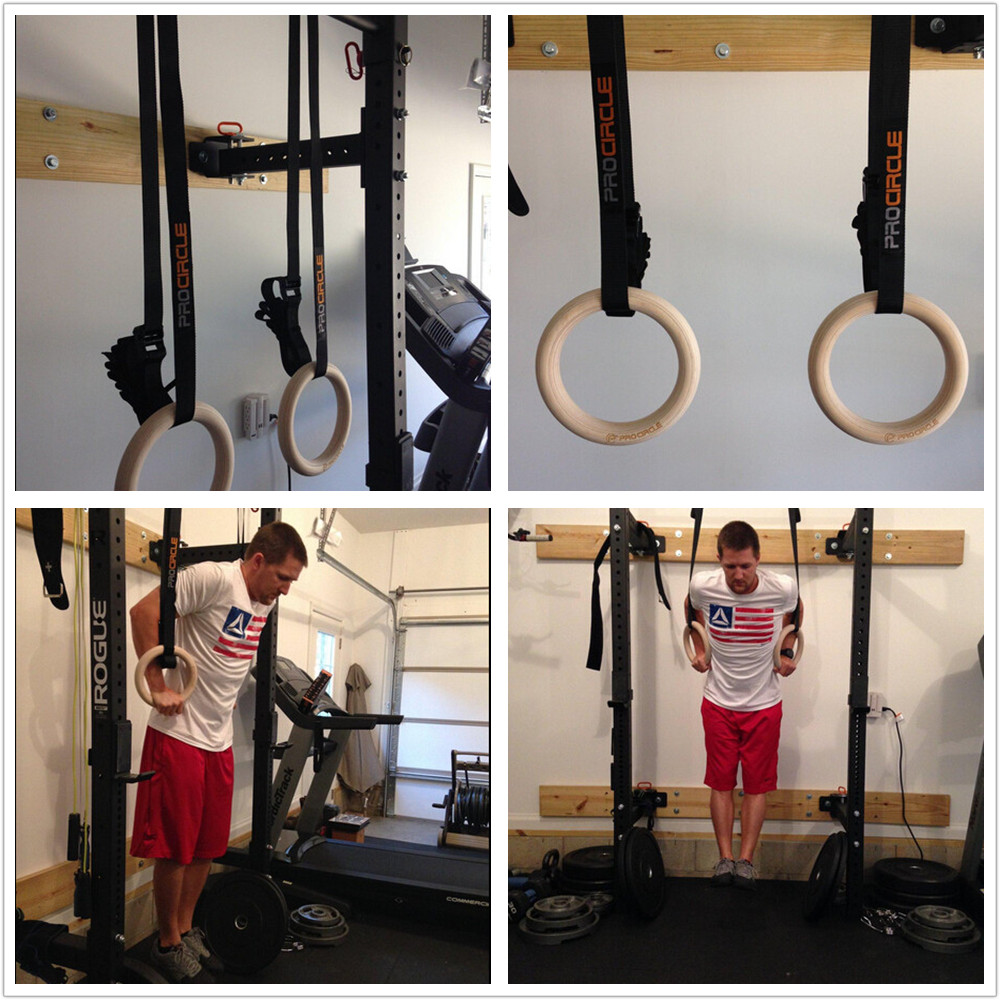 Anneaux de gymnastique en bois Procircle anneaux de gymnastique 28/32mm avec longues boucles réglables sangles d'entraînement pour la gymnastique à domicile et la remise en forme croisée - 6