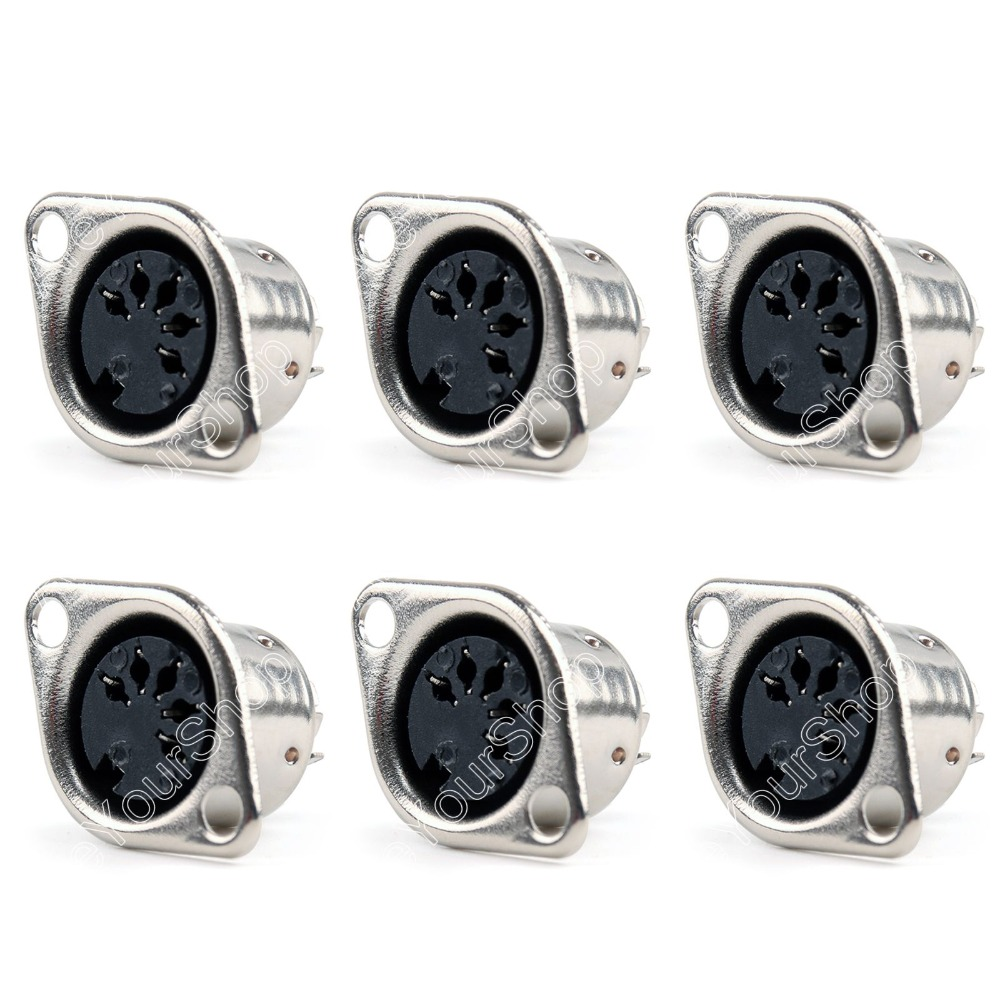 Areyourshop Sale 50 Pcs Din Female Jack Cable Connector Adapter 5 Pin Plug Panel Mount Solder  Minij