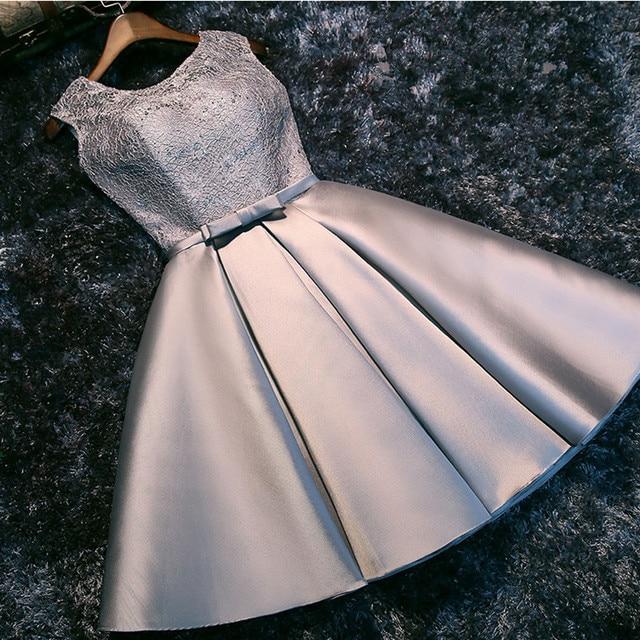 Gre Bridesmaid Dresses Pendek Satin Tangki Renda Tanpa Lengan Pengantin  Formal Elegan Gaun Pesta Ulang Tahun 6d93dec5d53c