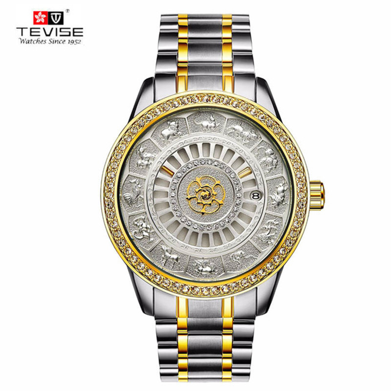 Top Brand Men s TEVISE Relogio Automatico Masculino Mechanical Watches Fashion Gold Chinese zodiac Sport Business