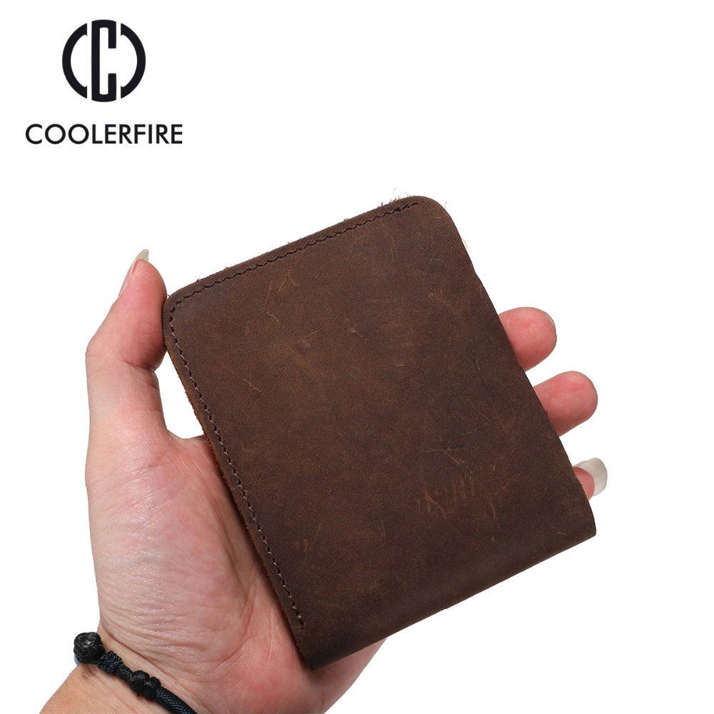 2018 Vintage Men Genuine Leather Men's Wallets Thin Male Wallet Card Holder Cowskin Crazy Horse Leather Wallet For Men  PJ004