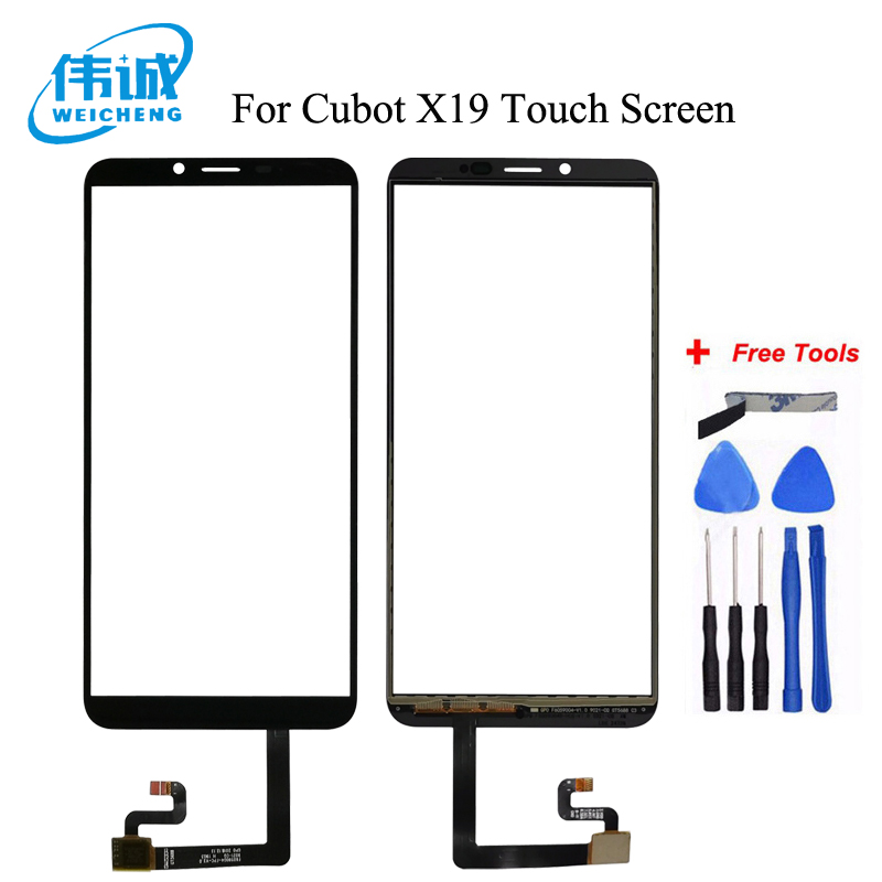 WEICHENG 100% Tested 5.93 Inch Mobile Phone Front Glass For Cubot X19 Touch Sreen Digitizer Panel With Tape Replacement +Tools