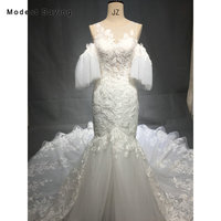 Elegant Ivory Mermaid Embroidery Lace Wedding Dresses 2018 with Detachable Puff Sleeves Women Long Bridal Gowns vestido de noiva