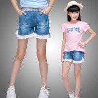 Новые шорты 2016 года для девочек 4 до 12 лет джинсовые шорты с кружевной отделкой для девочек модные штаны одежда для девочек–по