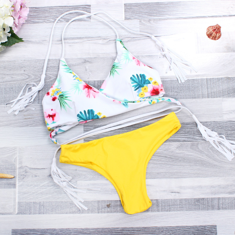 Sexy Bikinis Women Wwimsuit 2018 Summer Low Waiste Swimwear Swiming Suit Women Cross Bandage Halter Bikini Swimsuit Swimwear Set