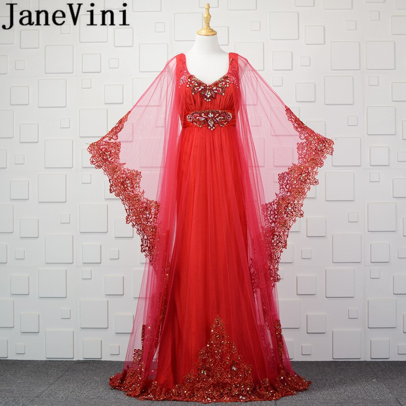 JaneVini 2018 Luxurious Beads Red Arabic Dubai Long   Bridesmaid     Dresses   for Wedding A Line Lace Applique Women Formal Party Gowns