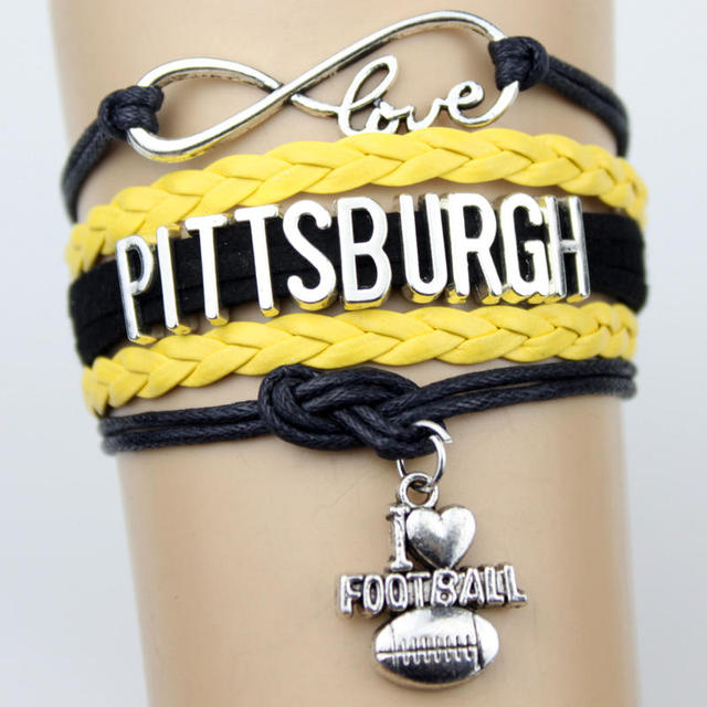 10pcs Infinity Love Pittsburgh Steelers Philadelphia Eagles Football Team Charms Bracelet Yellow Black Leather Bracelets
