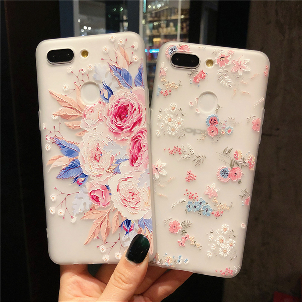 3D Relief Floral Phone Case For OPPO A59 A37 A57 A83 A73 A75 F5 F7 F9 A5 A3S A37 A77 A3 R17 A7X K1 R15 Case Girly Silicon Cover in Fitted Cases from Cellphones Telecommunications