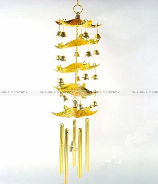Shanghaimagicbox Lucky Golden Chinese Feng Shui Windchime 5 Paa Bell Wind Chime 70215303