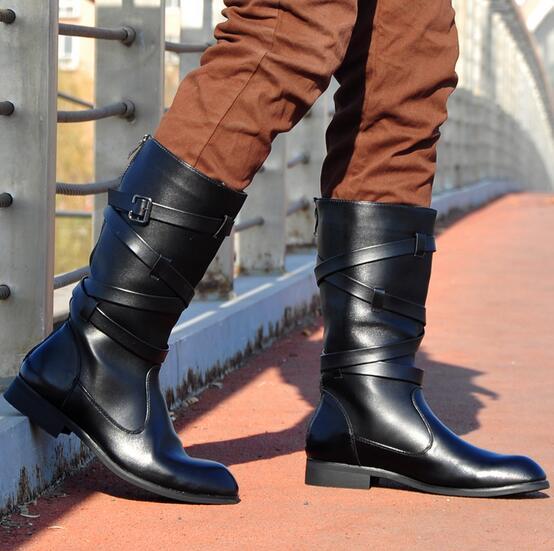 ФОТО Hot 2017 New men Martin boots, high boots tide bind wellingtons pointed zipper cowboy fashion men's boots / 38-44