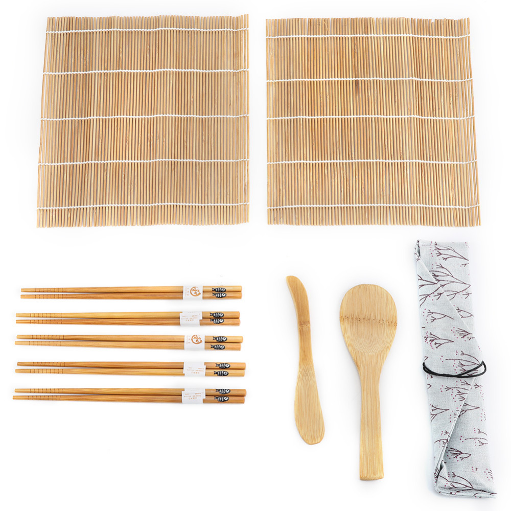 Us 6 95 37 Off 9pcs Set Bamboo Sushi Making Kit Includes 2 Rolling Mats 5 Chopsticks 1 Paddle 1 Sushi Blade In Sushi Tools From Home Garden On