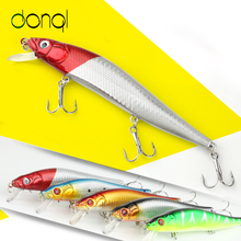 DONQL 1 Pz Minnow Hard Bait 14cm 24g Fishing Lure Con 3 Ance Ganci 3D Eyes Fishing Access Tackle Esche realistiche