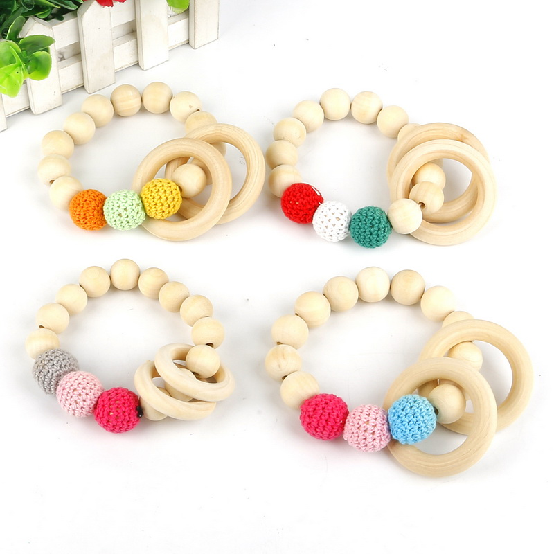 Teething Natural Wood Necklace Baby Newborn Mom Kids Wooden Teether Jewelry Toy