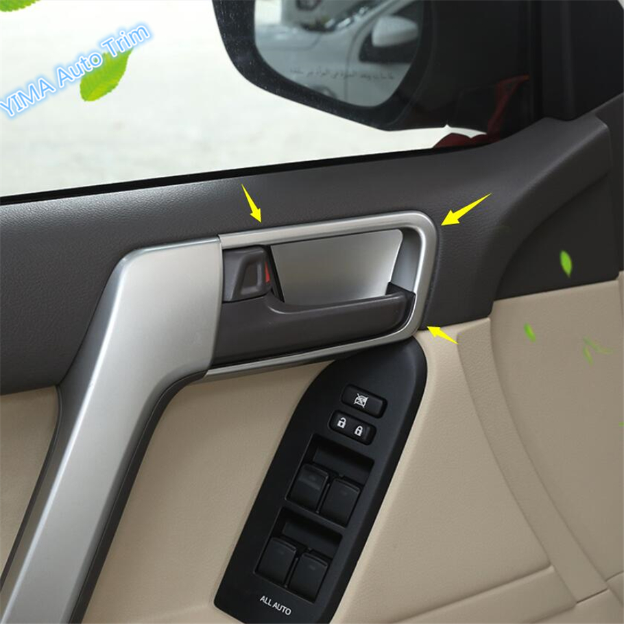 Lapetus Inner Door Doorknob Handle Bowl Protection Cover Trim For Toyota Land Cruiser Prado FJ150 2011 2019 ABS Pearl Chrome in Interior Mouldings from Automobiles Motorcycles