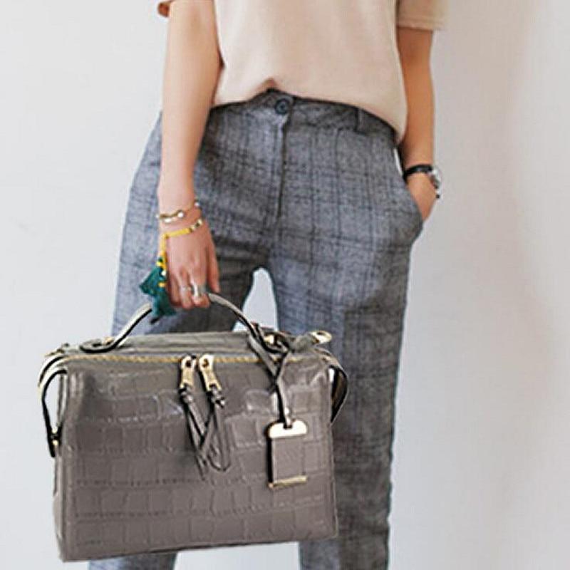 Genuine Leather Ladies Boston Handbags Larger Women Bags Shoulder Bag Motorcycle Messenger Bag Luxury Top-Handle Bag цена