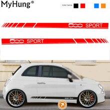 車体ステッカー用フィアット500スポーツ車のステッカーとデカール装飾保護ステッカー車のスタイリングオートアクセサリー2ピース