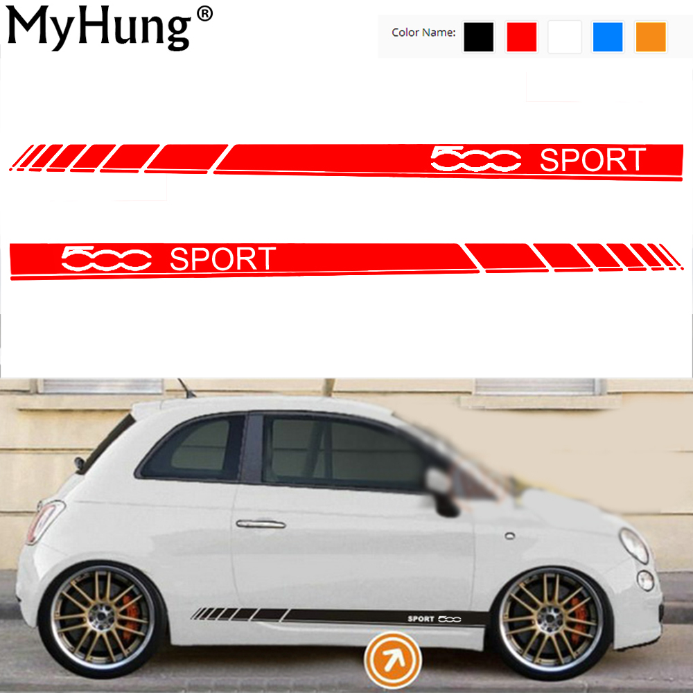 Car Body Sticker For Fiat 500 SPORT Car Stickers And Decals Decoration Protection Sticker Car-Styling Auto Accessories 2pcs car styling auto amg sport performance edition side stripe skirt sticker for mercedes benz g63 w463 g65 vinyl decals accessories