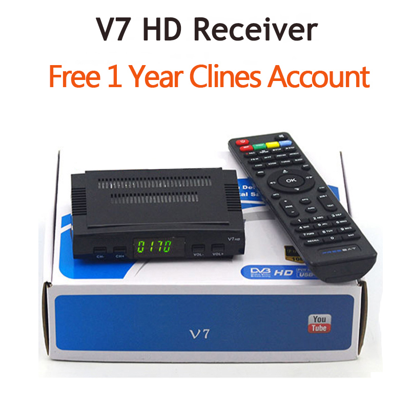 V7 HD Receptor DVB-S2 satellite Decoder with 7clines for 1 year HD 1080p BISS Key Powervu satellite receiver