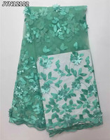 JYN121 Light green appliqued french net lace fabric with beads 2017 latest arrival African tulle lace fabric high quality 5 yard