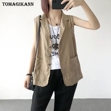 2017 New Summer Linen Solid Women's Vest Feminie Casual Single Breasted Turn Down Collar Pockets Gilet Tops Sleeveless Waistcoat