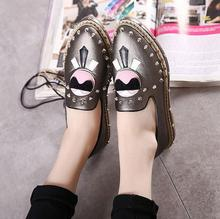 Women's Flats new women spikes studded rivets pointy toe patchwork mixed color sunglasses charm slip on oxfords boat shoes flats