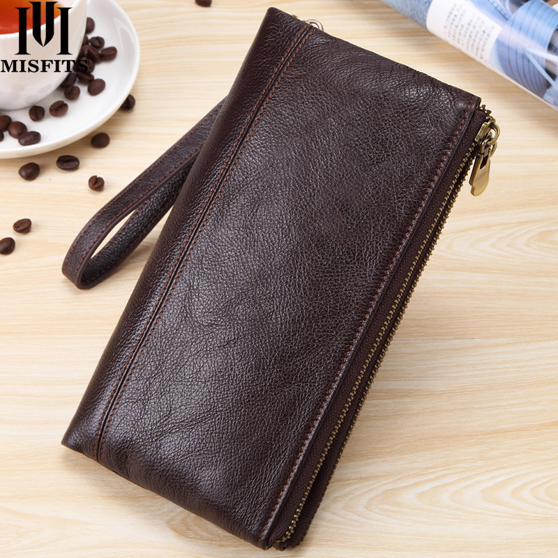 MISFITS Men Clutch Wallet Genuine Leather Wallets For Cell Phone Zipper Clutch Bag Male Cow Leather Long Purse Travel Portomonee