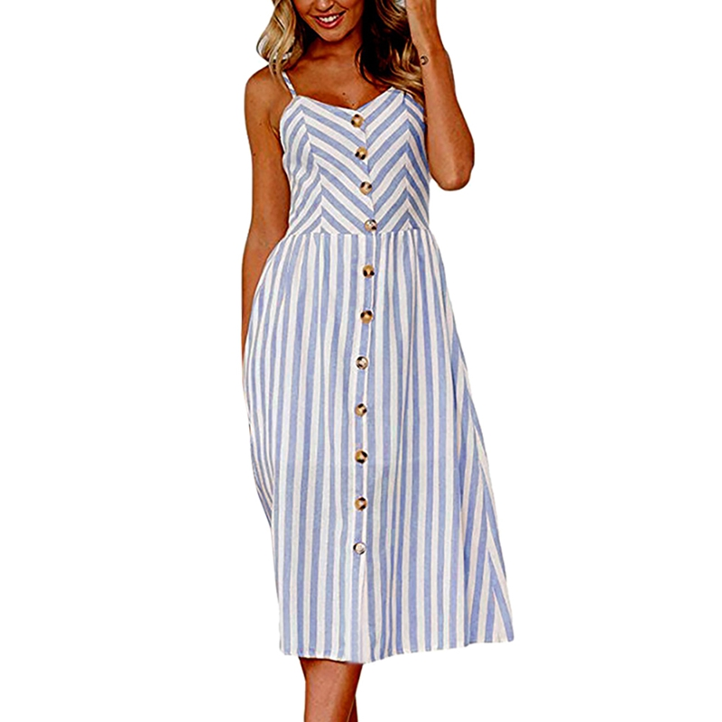 new 2018 Summer Sexy Casual Striped Dress Boho Beach V neck Spaghetti Straps Button Pockets Sundress Elegant Daily dress Women