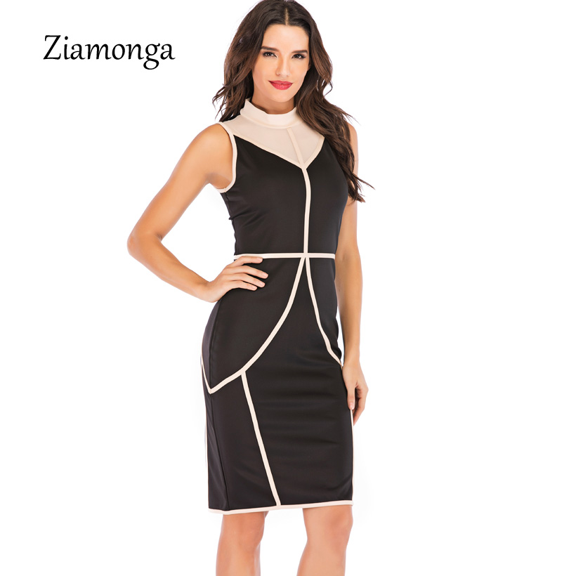 Ziamonga Mesh Patchwork Striped Optical Illusion Slim Wear To Work Fitted Pencil Dress Brief Casual Women Sexy Dress Spring 2019