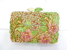 8237 colorA Crystal Flower Floral Fashion Wedding Bridal hollow Metal Evening purse clutch bag handbag case