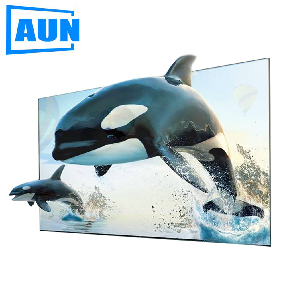 AUN 16:9 Anti-light Screen, 60 / 100 inch Brightness Enhancement Screen for Home theater, LED Projector DLP proyector support for customfree shipping 120 inch projector mount screen 16 9 gf grey