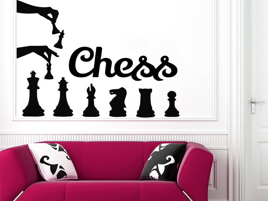 Wall Decal Chess Pieces Strategy Board Game Vinyl Sticker Decals Nursery ...