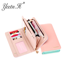 2016 New Arrival Fashion Women Wallet Candy Color PU Leather Wallet Long Ladies Clutch Coin Purse Casual Handbag M2569