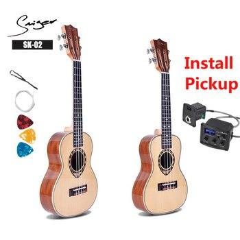 Ukulele 24 26 Inches Mini Electri Concert Tenor Acoustic Guitars 4 Strings Ukelele Travel Guitar Install Pickup Music Guitarra