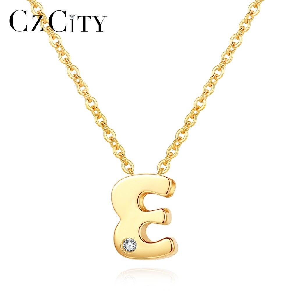 CZCITY Véritable 14 K Or Petite CZ pendentif initiale lettre Collier pour Femmes Personnalisé A-Z Lettre Collier Bijoux Meilleurs Cadeaux