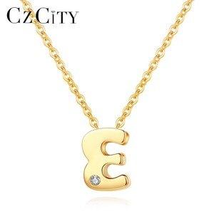Image 1 - CZCITY oryginalne 14K złota Petite CZ breloczek z inicjałem naszyjniki dla kobiet unikalne A Z list naszyjniki na prezenty